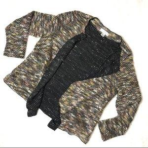 CJ Banks Pastel Metallic Silver Thin Knit Cardigan